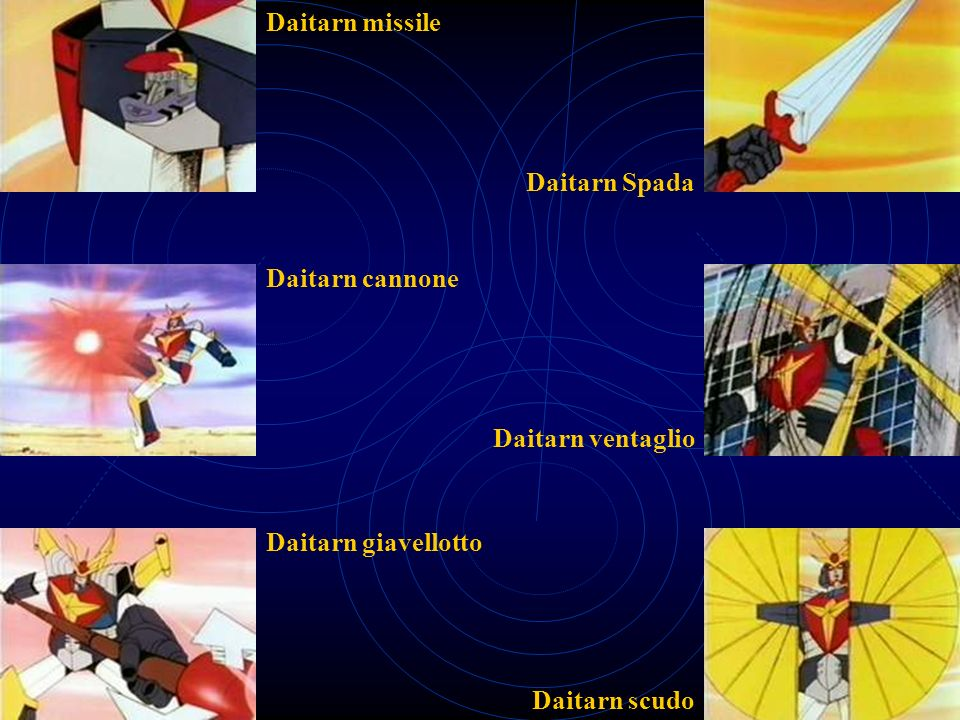 Daitarn missile Daitarn Spada Daitarn cannone Daitarn ventaglio Daitarn giavellotto Daitarn scudo