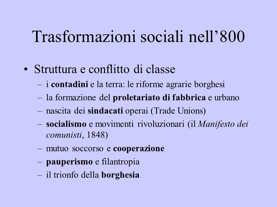 Trasformazioni sociali nell'800