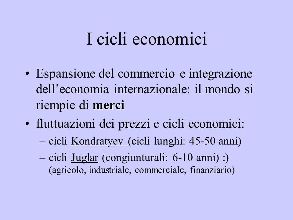 I cicli economici Espansione del commercio e integrazione dell'economia internazionale: il mondo si riempie di merci.