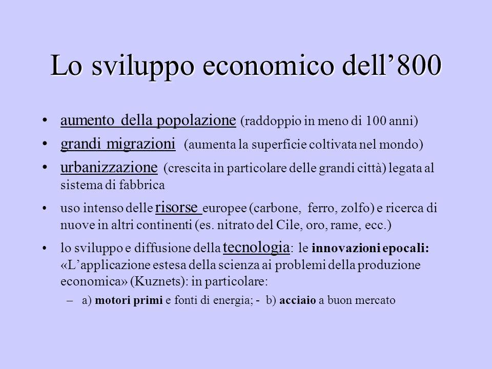 Lo sviluppo economico dell'800