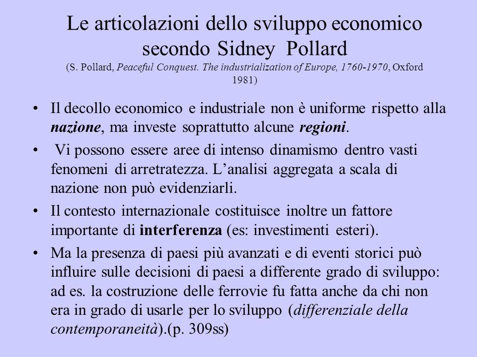 Le articolazioni dello sviluppo economico secondo Sidney Pollard (S