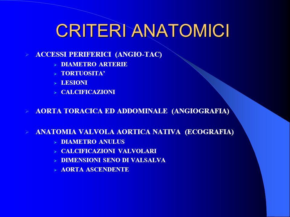 CRITERI ANATOMICI ACCESSI PERIFERICI (ANGIO-TAC)