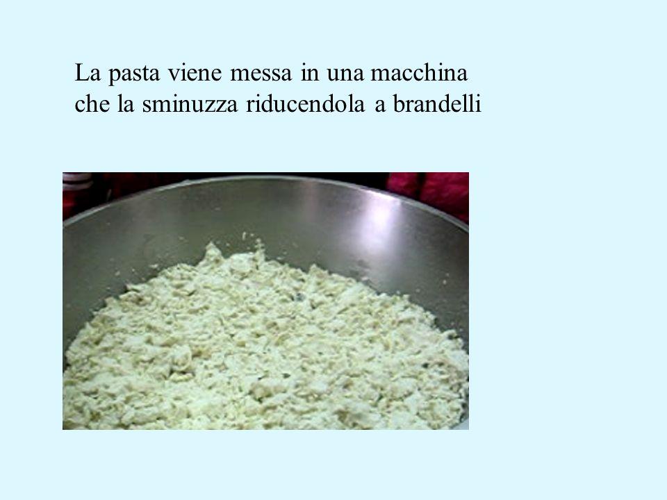 La pasta viene messa in una macchina che la sminuzza riducendola a brandelli