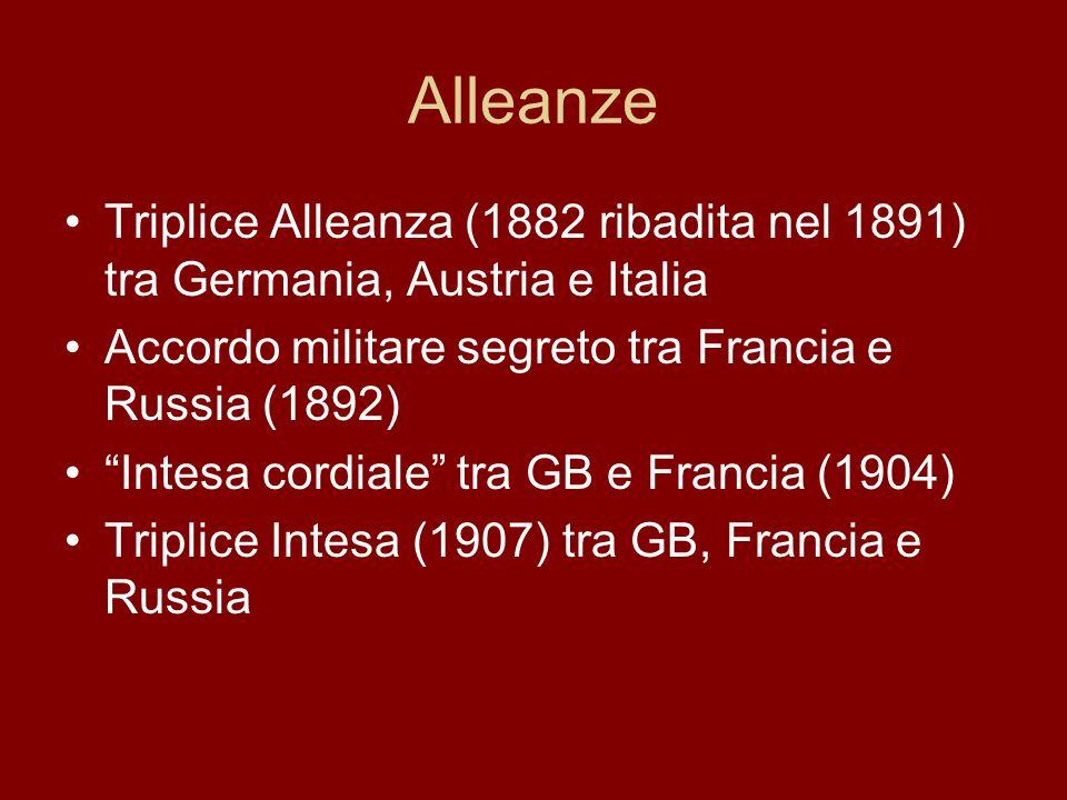 Alleanze Triplice Alleanza (1882 ribadita nel 1891) tra Germania, Austria e Italia. Accordo militare segreto tra Francia e Russia (1892)
