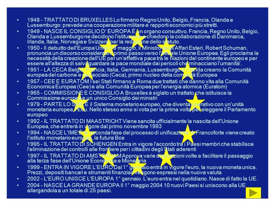1948 - TRATTATO DI BRUXELLES Lo firmano Regno Unito, Belgio, Francia, Olanda e Lussemburgo: prevede una cooperazione militare e rapporti economici più stretti.