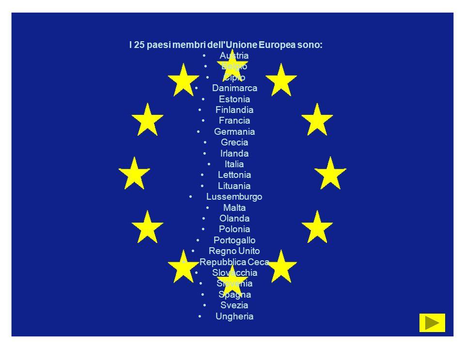 I 25 paesi membri dell Unione Europea sono: