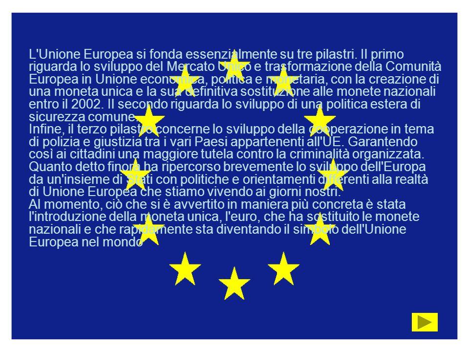 L Unione Europea si fonda essenzialmente su tre pilastri