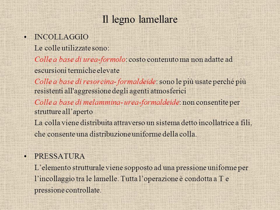Il legno lamellare INCOLLAGGIO Le colle utilizzate sono: