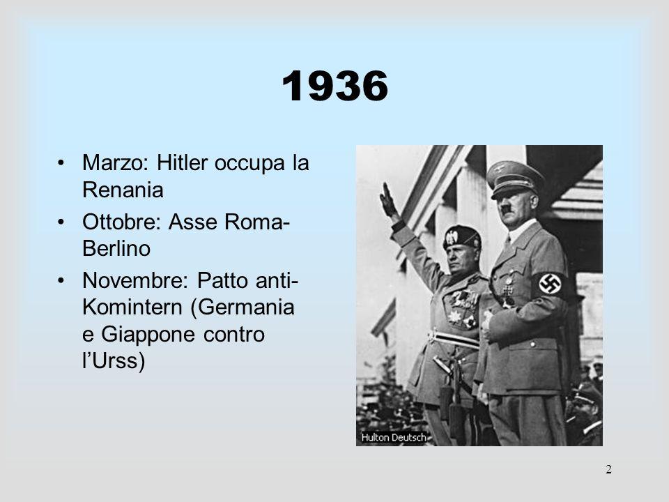 1936 Marzo: Hitler occupa la Renania Ottobre: Asse Roma- Berlino