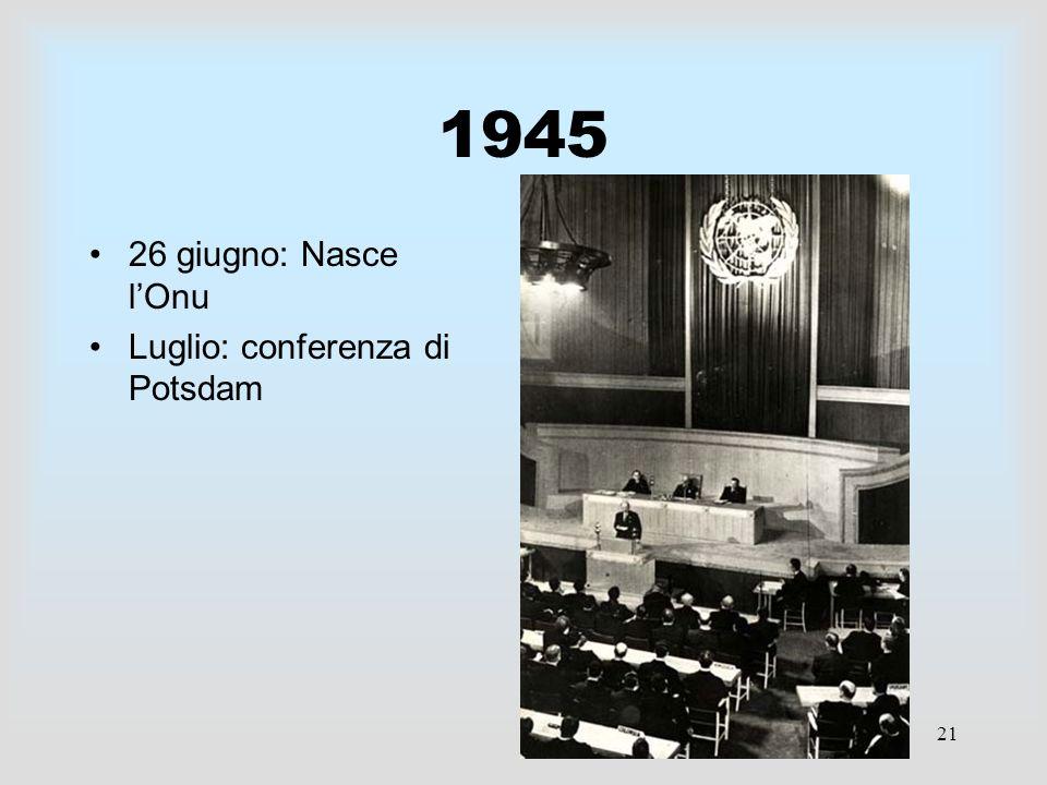 1945 26 giugno: Nasce l'Onu Luglio: conferenza di Potsdam