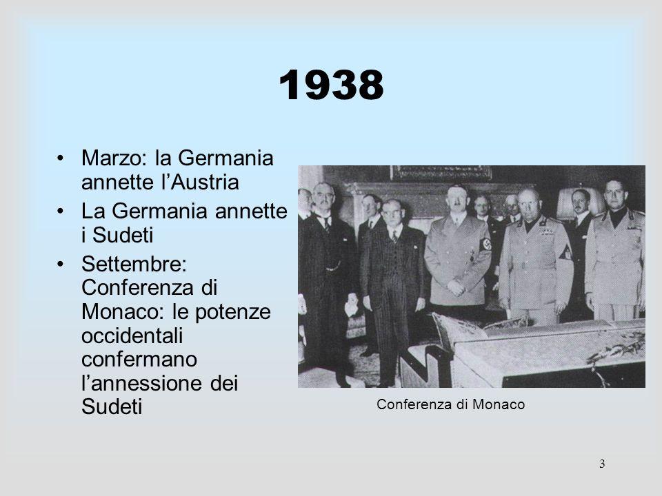 1938 Marzo: la Germania annette l'Austria La Germania annette i Sudeti