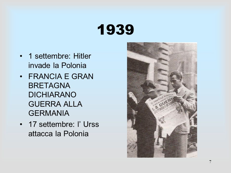 1939 1 settembre: Hitler invade la Polonia