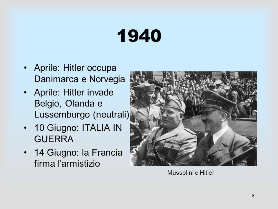 1940 Aprile: Hitler occupa Danimarca e Norvegia