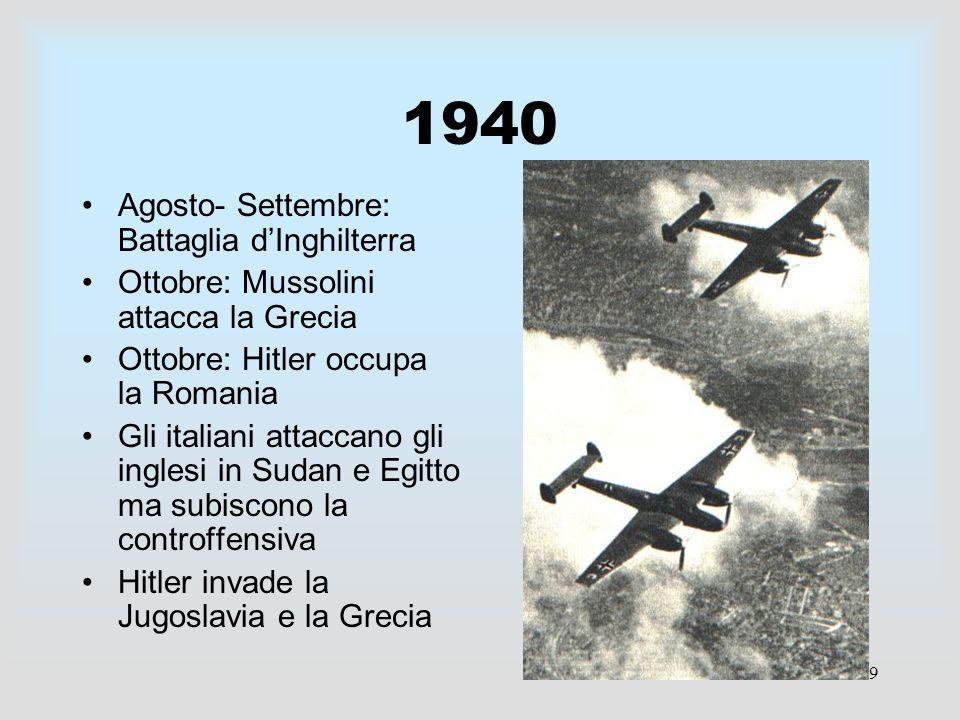 1940 Agosto- Settembre: Battaglia d'Inghilterra