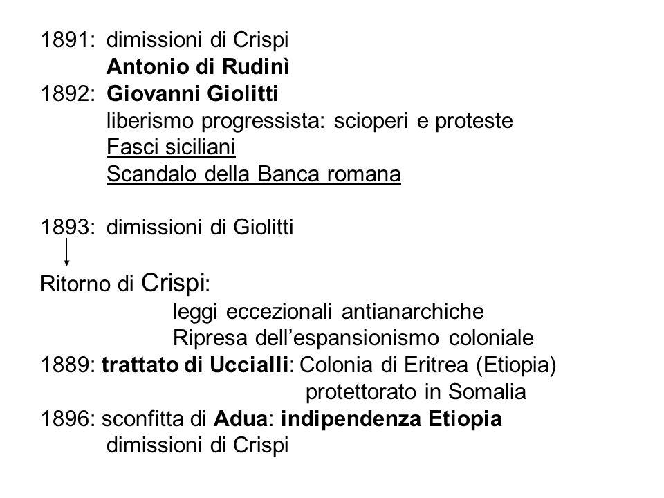 1891: dimissioni di Crispi Antonio di Rudinì. 1892: Giovanni Giolitti. liberismo progressista: scioperi e proteste.