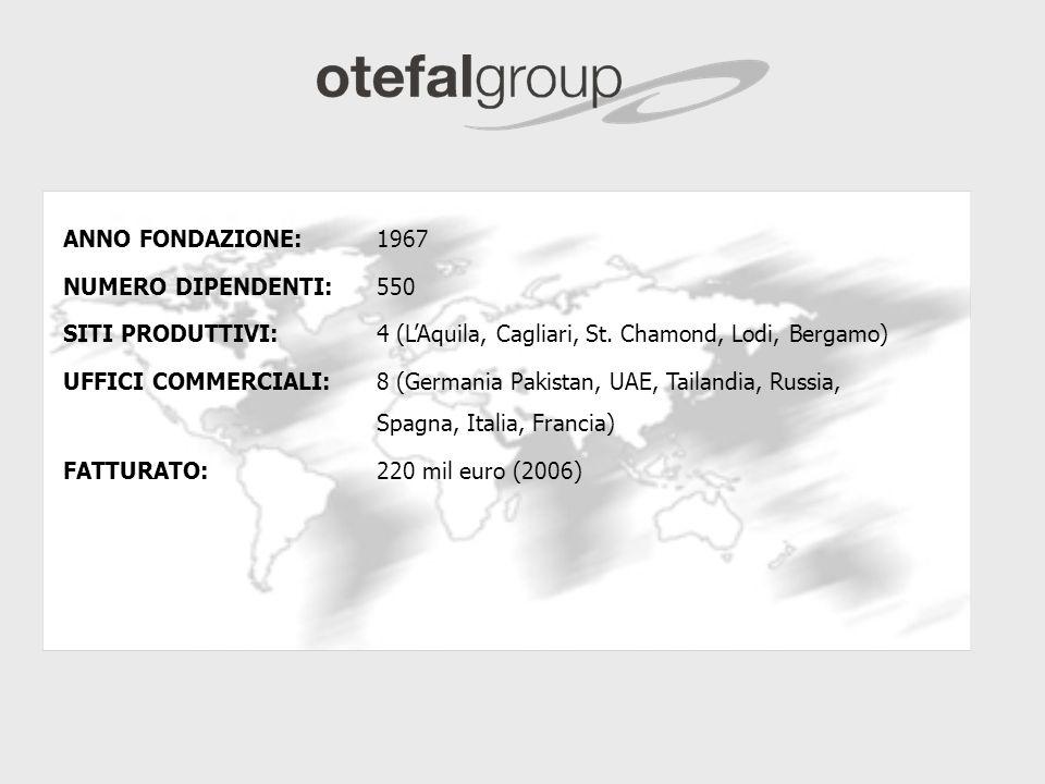 ANNO FONDAZIONE: 1967 NUMERO DIPENDENTI: 550. SITI PRODUTTIVI: 4 (L'Aquila, Cagliari, St. Chamond, Lodi, Bergamo)