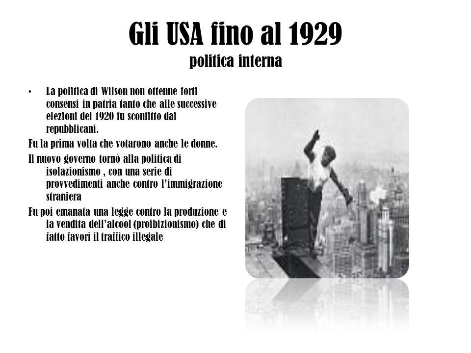 Gli USA fino al 1929 politica interna