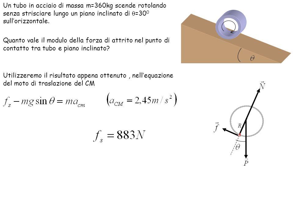 Un tubo in acciaio di massa m=360kg scende rotolando senza strisciare lungo un piano inclinato di =300 sull'orizzontale.