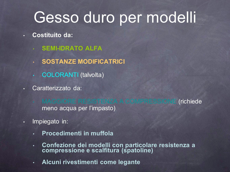 Gesso duro per modelli Costituito da: SEMI-IDRATO ALFA