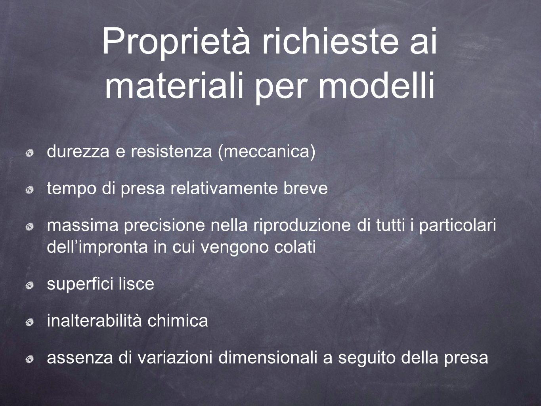 Proprietà richieste ai materiali per modelli