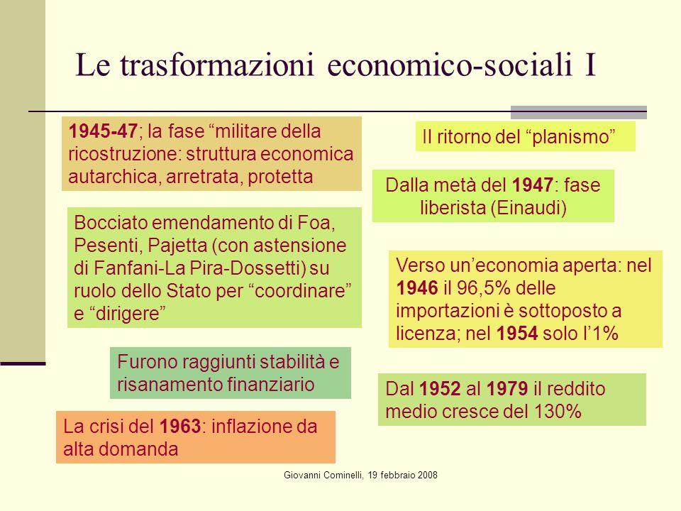 Le trasformazioni economico-sociali I