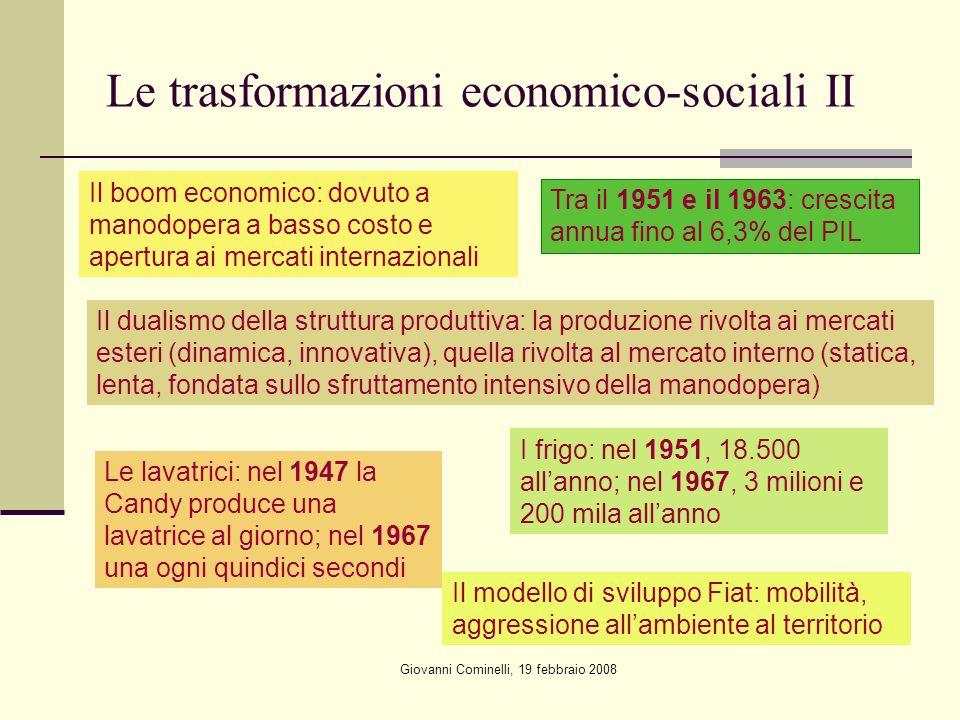 Le trasformazioni economico-sociali II