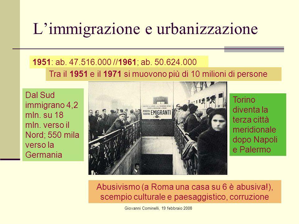 L'immigrazione e urbanizzazione