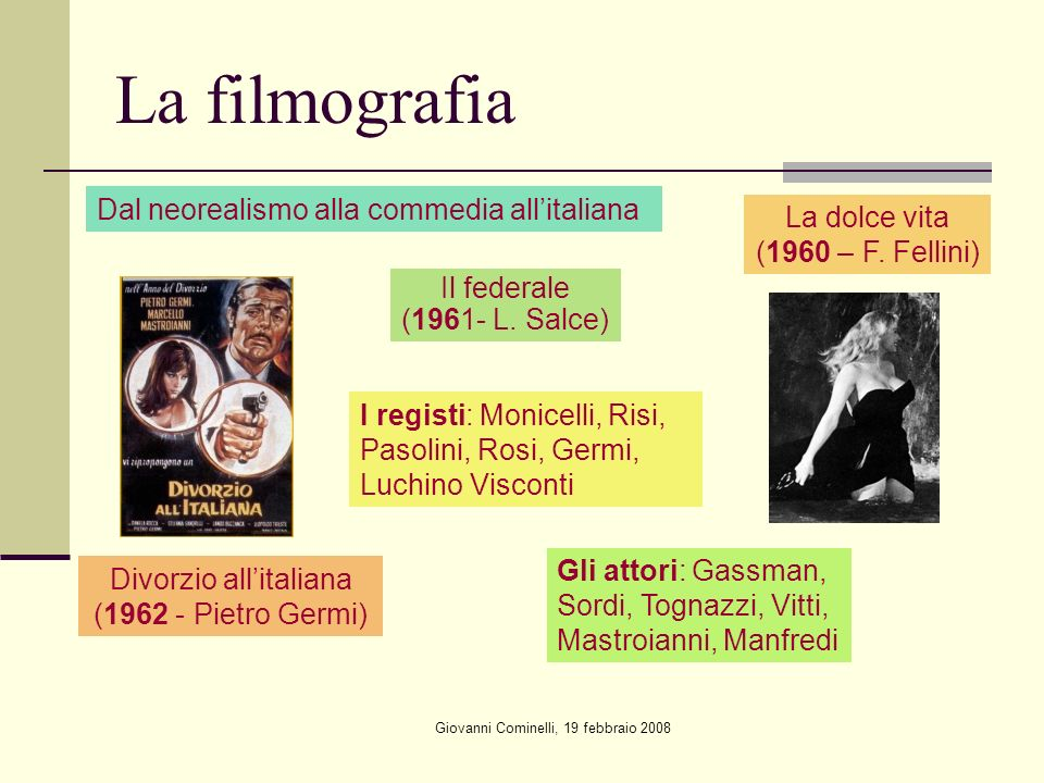 La filmografia Dal neorealismo alla commedia all'italiana