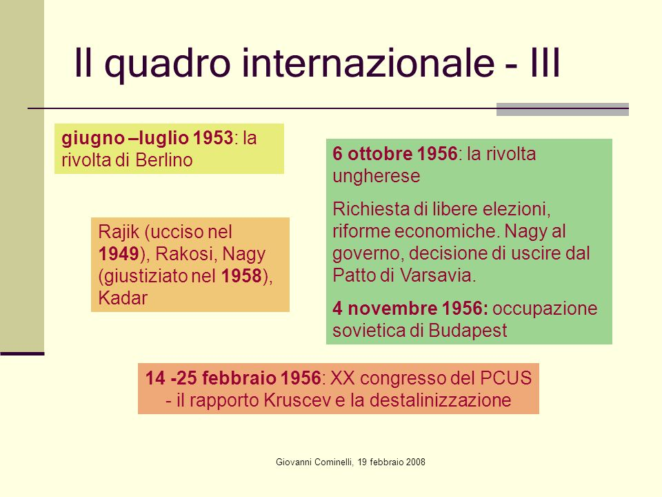 Il quadro internazionale - III