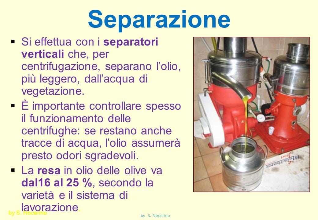 Separazione Si effettua con i separatori verticali che, per centrifugazione, separano l'olio, più leggero, dall'acqua di vegetazione.