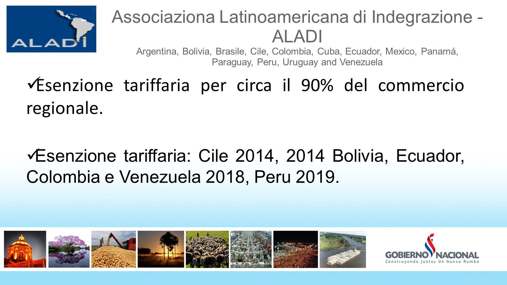 Esenzione tariffaria per circa il 90% del commercio regionale.