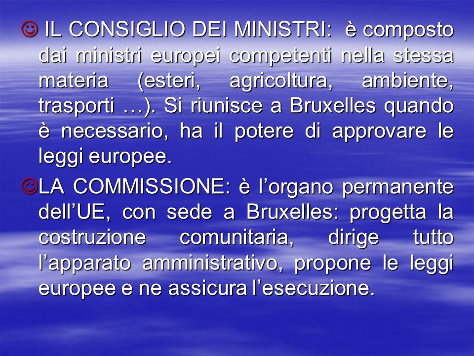 IL CONSIGLIO DEI MINISTRI: è composto dai ministri europei competenti nella stessa materia (esteri, agricoltura, ambiente, trasporti …). Si riunisce a Bruxelles quando è necessario, ha il potere di approvare le leggi europee.