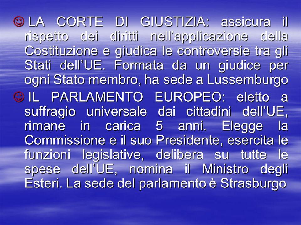 LA CORTE DI GIUSTIZIA: assicura il rispetto dei diritti nell'applicazione della Costituzione e giudica le controversie tra gli Stati dell'UE. Formata da un giudice per ogni Stato membro, ha sede a Lussemburgo