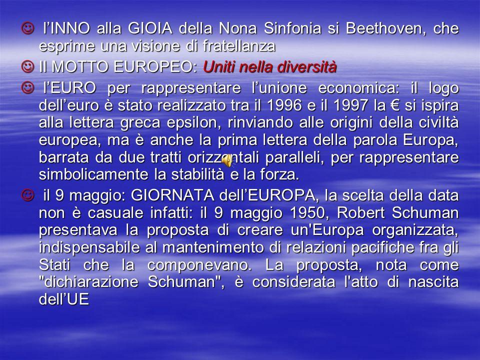 l'INNO alla GIOIA della Nona Sinfonia si Beethoven, che esprime una visione di fratellanza