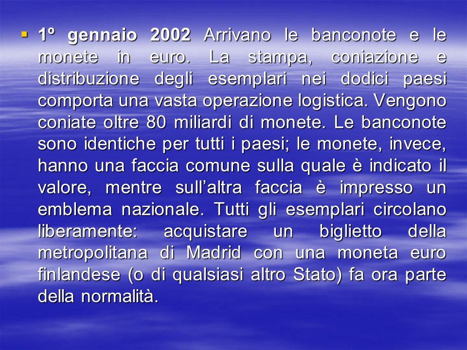 1º gennaio 2002 Arrivano le banconote e le monete in euro