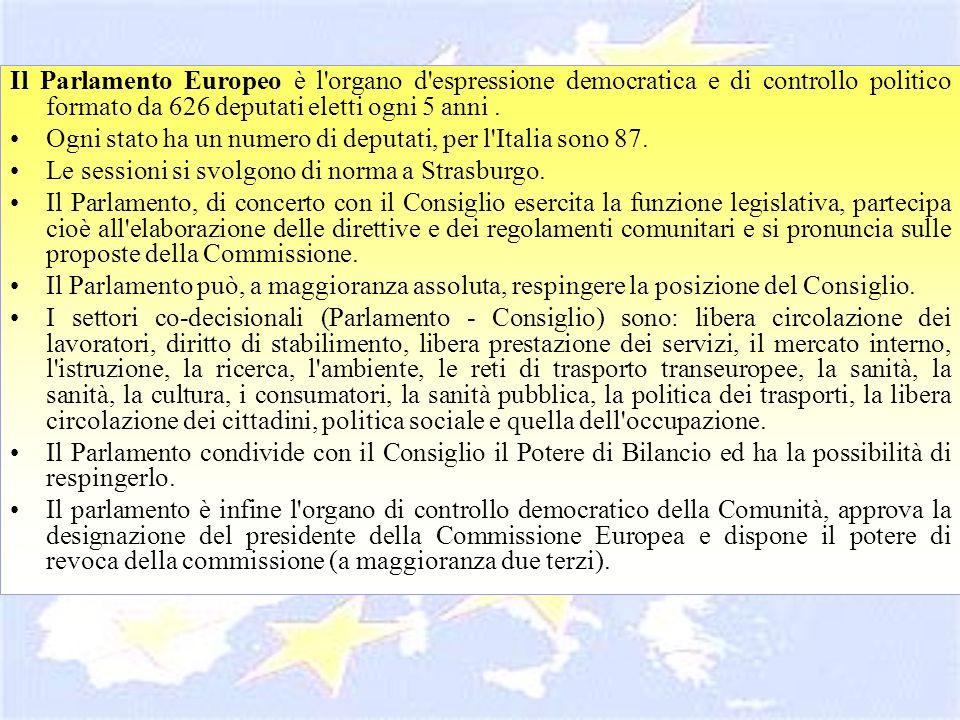 Il Parlamento Europeo è l organo d espressione democratica e di controllo politico formato da 626 deputati eletti ogni 5 anni .