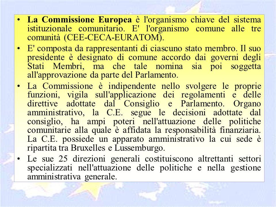 La Commissione Europea è l organismo chiave del sistema istituzionale comunitario. E l organismo comune alle tre comunità (CEE-CECA-EURATOM).