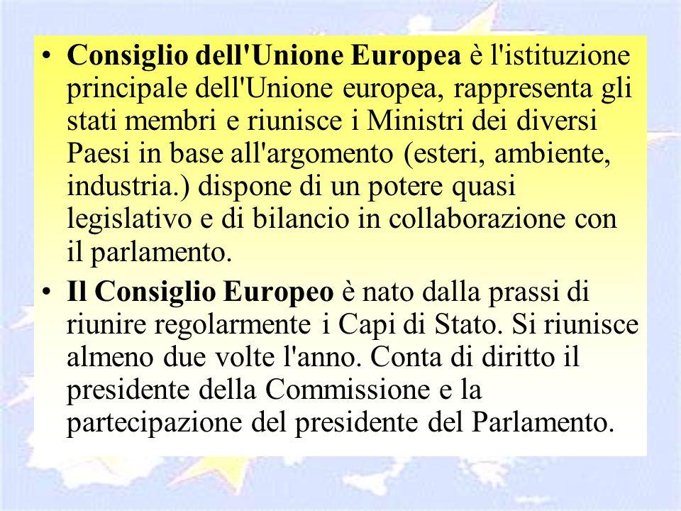 Consiglio dell Unione Europea è l istituzione principale dell Unione europea, rappresenta gli stati membri e riunisce i Ministri dei diversi Paesi in base all argomento (esteri, ambiente, industria.) dispone di un potere quasi legislativo e di bilancio in collaborazione con il parlamento.