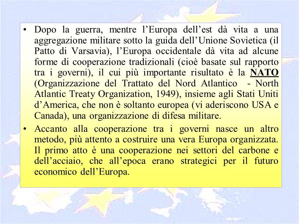 Dopo la guerra, mentre l'Europa dell'est dà vita a una aggregazione militare sotto la guida dell'Unione Sovietica (il Patto di Varsavia), l'Europa occidentale dà vita ad alcune forme di cooperazione tradizionali (cioè basate sul rapporto tra i governi), il cui più importante risultato è la NATO (Organizzazione del Trattato del Nord Atlantico - North Atlantic Treaty Organization, 1949), insieme agli Stati Uniti d'America, che non è soltanto europea (vi aderiscono USA e Canada), una organizzazione di difesa militare.
