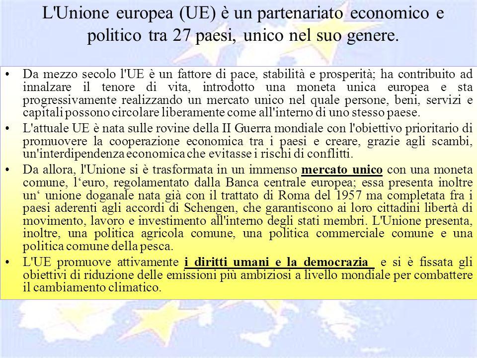L Unione europea (UE) è un partenariato economico e politico tra 27 paesi, unico nel suo genere.
