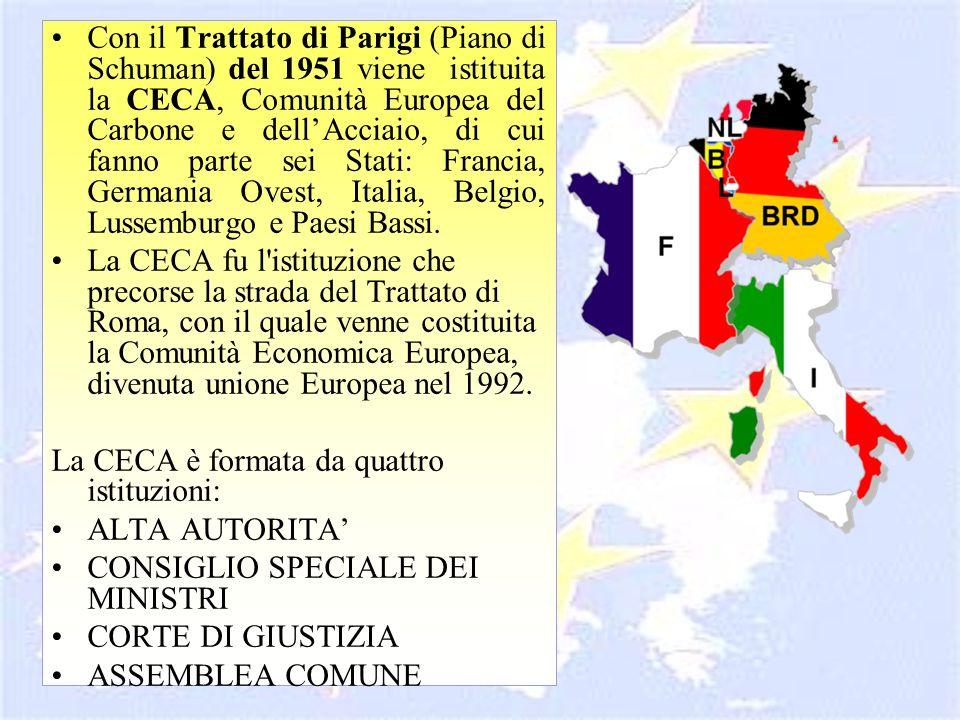 Con il Trattato di Parigi (Piano di Schuman) del 1951 viene istituita la CECA, Comunità Europea del Carbone e dell'Acciaio, di cui fanno parte sei Stati: Francia, Germania Ovest, Italia, Belgio, Lussemburgo e Paesi Bassi.