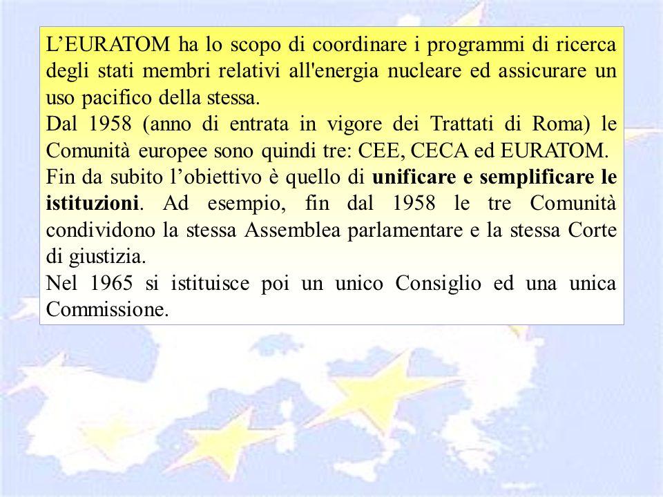 L'EURATOM ha lo scopo di coordinare i programmi di ricerca degli stati membri relativi all energia nucleare ed assicurare un uso pacifico della stessa.