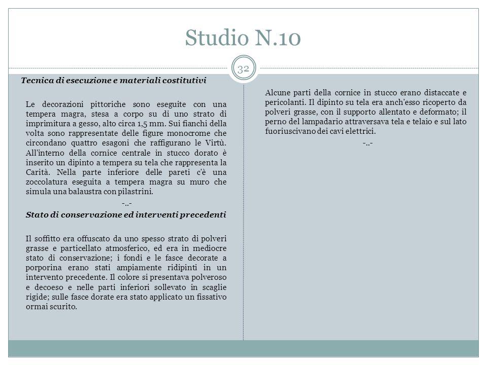 Studio N.10 Tecnica di esecuzione e materiali costitutivi