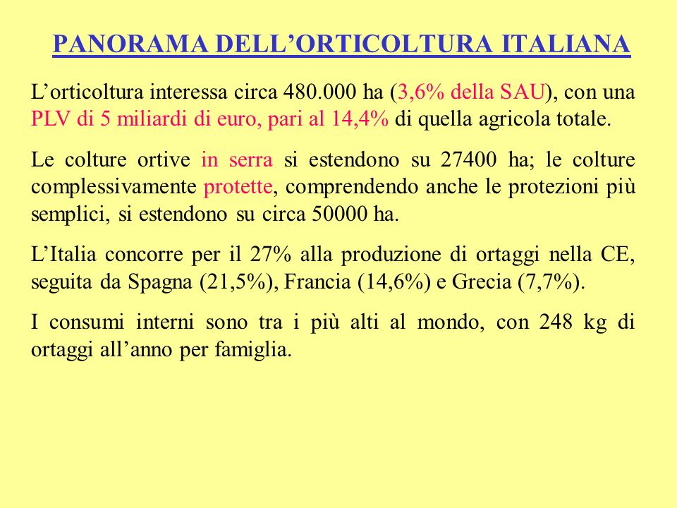 PANORAMA DELL'ORTICOLTURA ITALIANA