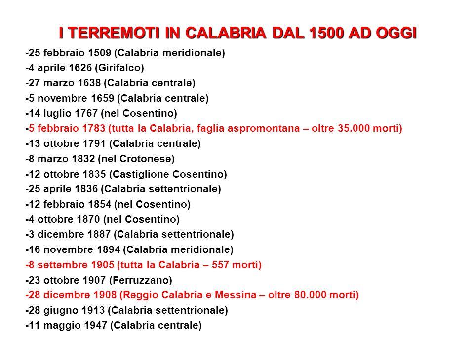 I TERREMOTI IN CALABRIA DAL 1500 AD OGGI
