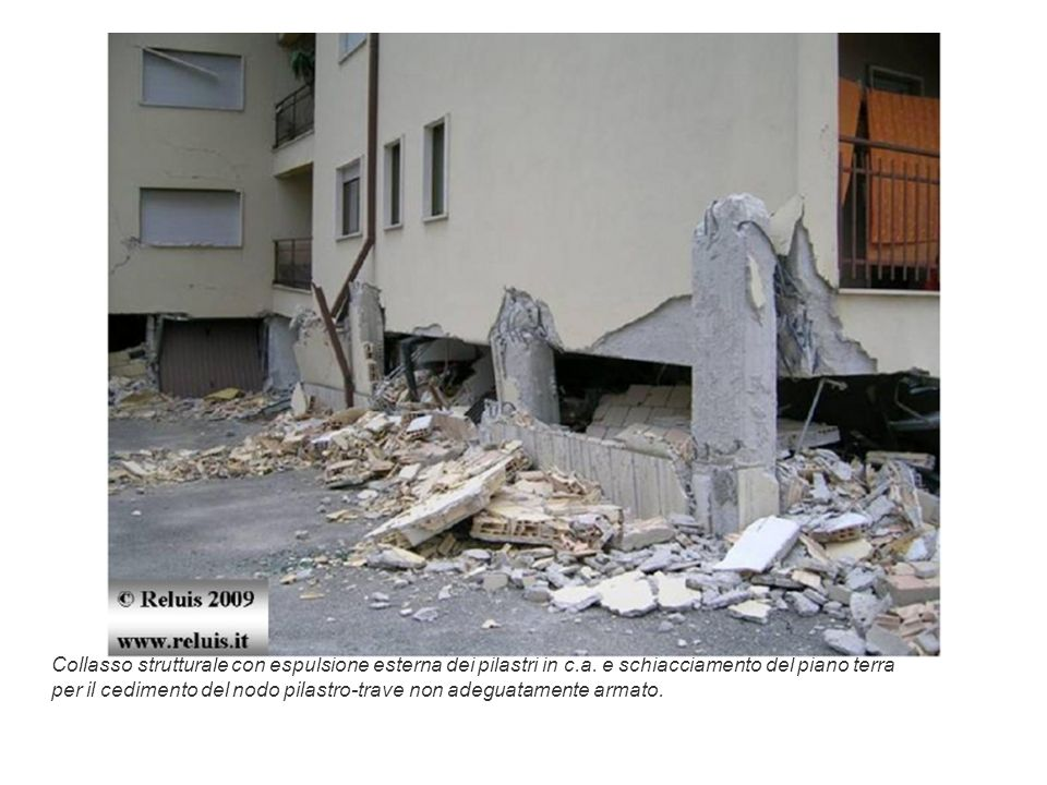 Collasso strutturale con espulsione esterna dei pilastri in c. a