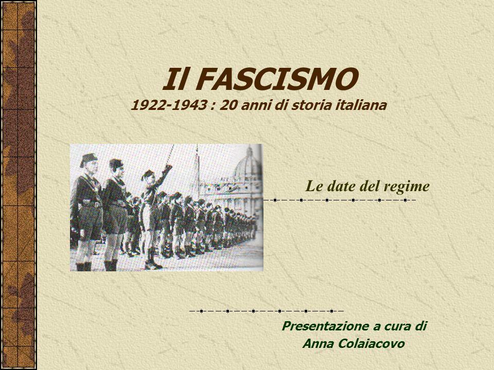 Il FASCISMO 1922-1943 : 20 anni di storia italiana