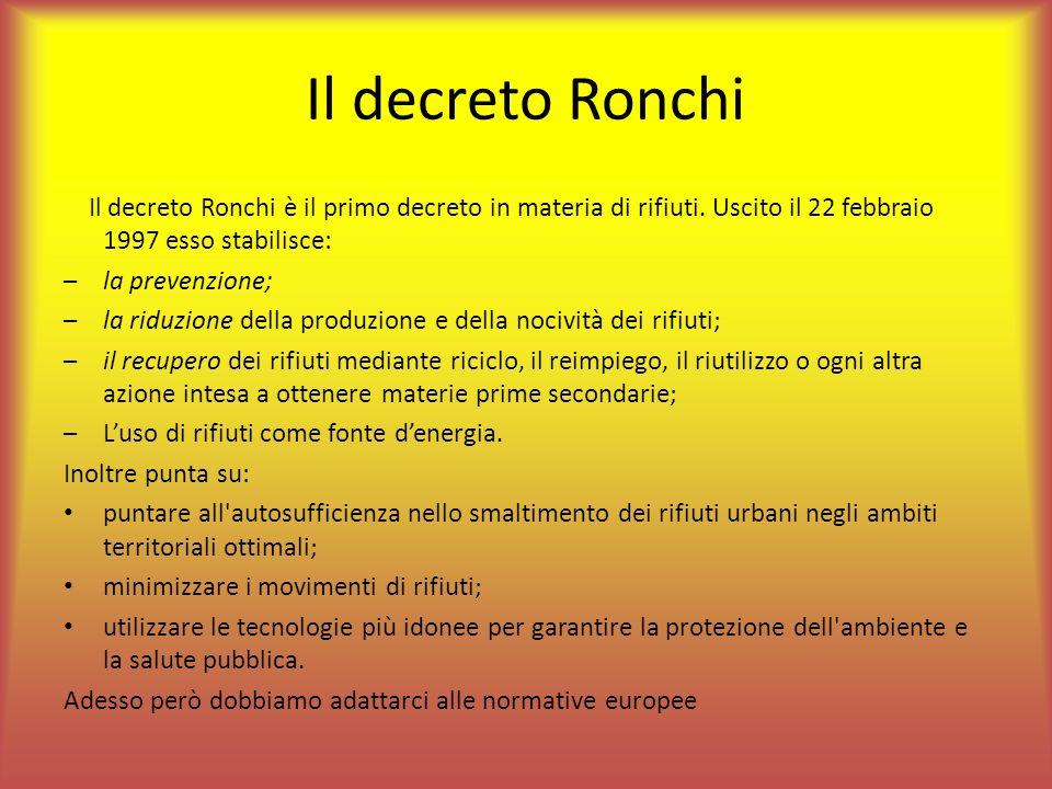 Il decreto Ronchi Il decreto Ronchi è il primo decreto in materia di rifiuti. Uscito il 22 febbraio 1997 esso stabilisce: