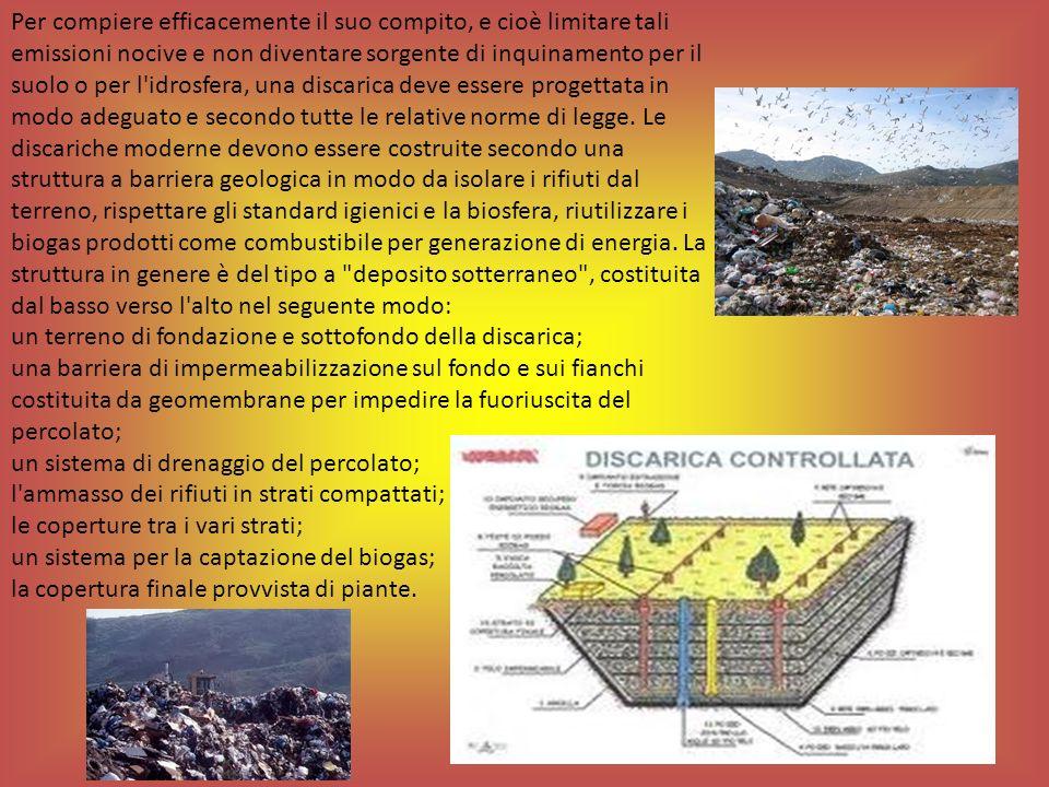 un terreno di fondazione e sottofondo della discarica;