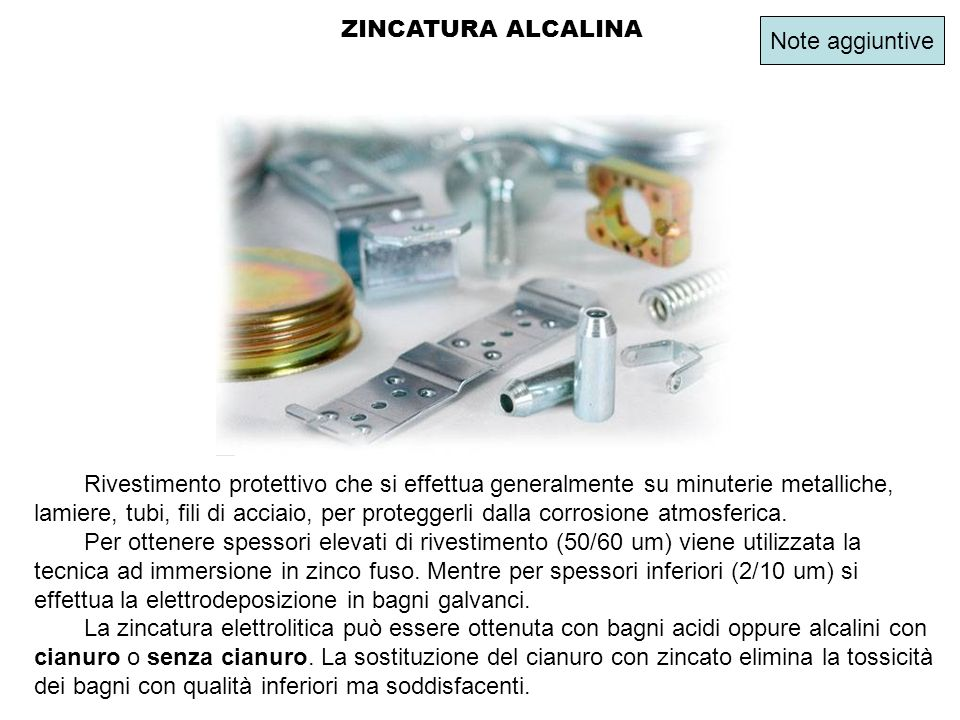 ZINCATURA ALCALINA Note aggiuntive.